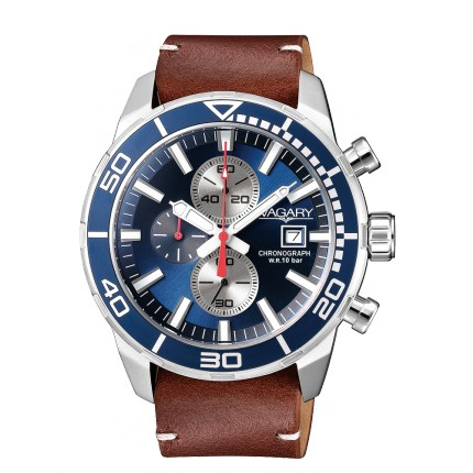 VAGARY by CITIZEN AQUA39 CRONO BLU PELLE