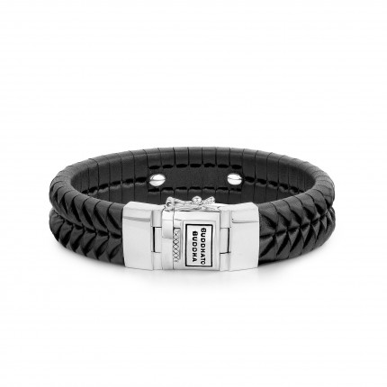 BUDDHA TO BUDDHA BRACCIALE KOMANG LEATHER BLACK 162BL F